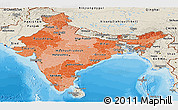Political Shades Panoramic Map of India, shaded relief outside, bathymetry sea