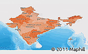 Political Shades Panoramic Map of India, single color outside