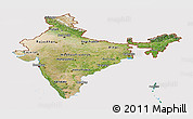 Satellite Panoramic Map of India, cropped outside