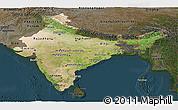 Satellite Panoramic Map of India, darken