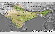 Satellite Panoramic Map of India, desaturated