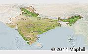 Satellite Panoramic Map of India, lighten