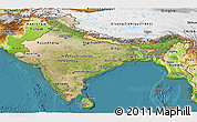 Satellite Panoramic Map of India, physical outside, satellite sea