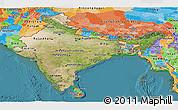 Satellite Panoramic Map of India, political outside, satellite sea