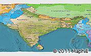 Satellite Panoramic Map of India, political shades outside, satellite sea