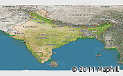 Satellite Panoramic Map of India, semi-desaturated, land only