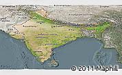 Satellite Panoramic Map of India, semi-desaturated