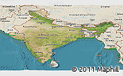 Satellite Panoramic Map of India, shaded relief outside, satellite sea