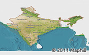 Satellite Panoramic Map of India, single color outside