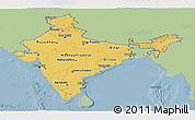Savanna Style Panoramic Map of India, single color outside