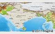 Shaded Relief Panoramic Map of India, physical outside