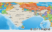Shaded Relief Panoramic Map of India, political outside, shaded relief sea
