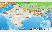 Shaded Relief Panoramic Map of India, political shades outside, shaded relief sea