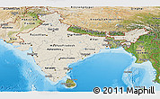 Shaded Relief Panoramic Map of India, satellite outside, shaded relief sea