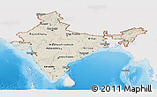Shaded Relief Panoramic Map of India, single color outside
