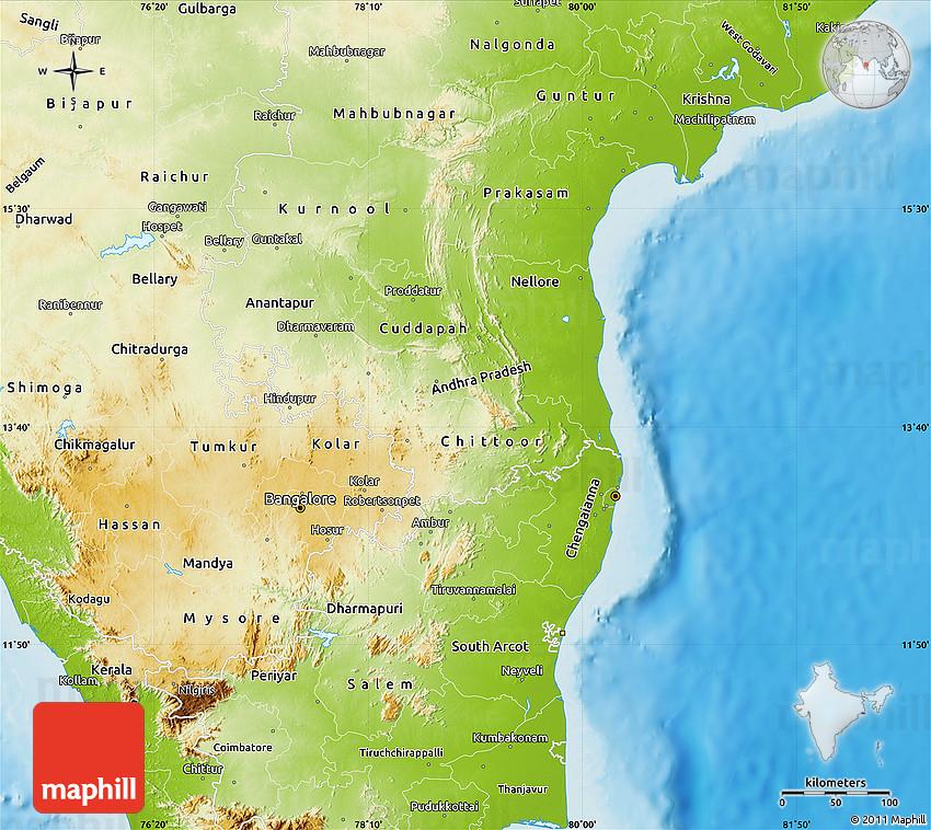 Physical Map Of Pondicherry - Pondicherry map