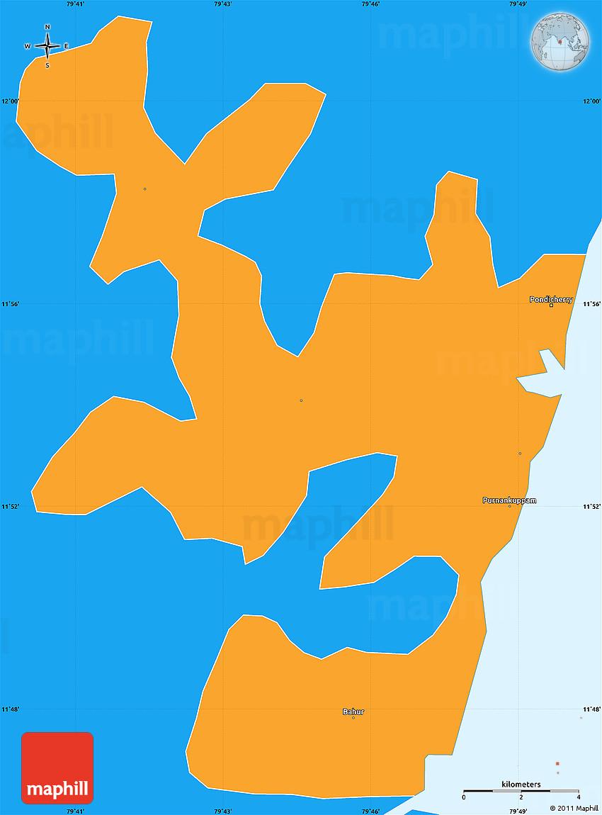 Political Simple Map Of Pondicherry - Pondicherry map