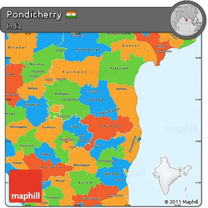 Free Political Simple Map Of Pondicherry - Pondicherry map