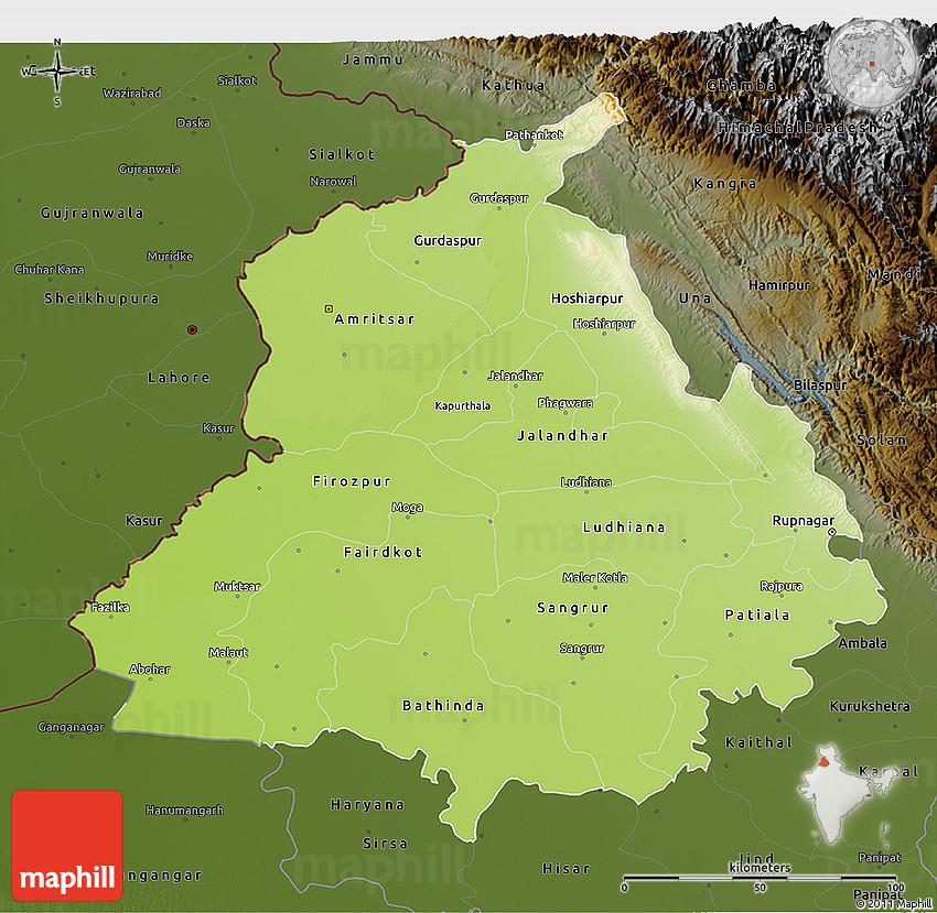 Physical 3D Map of Punjab, darken