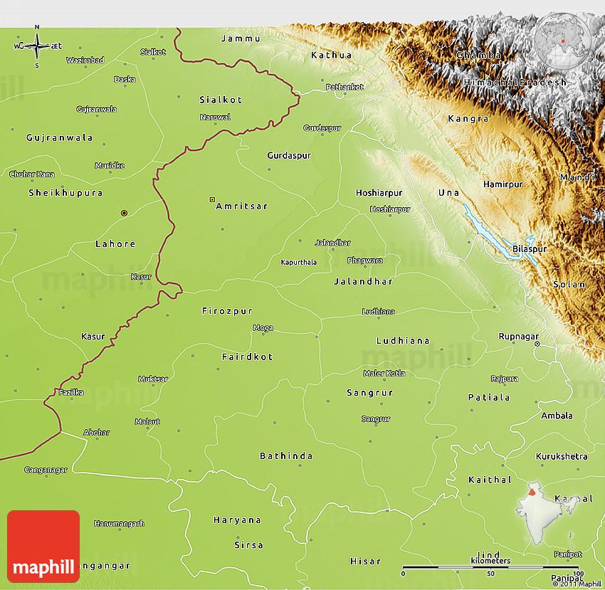 Physical 3D Map of Punjab