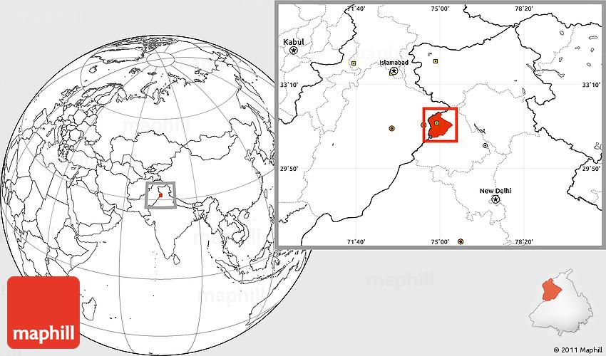 Blank Location Map of Amritsar