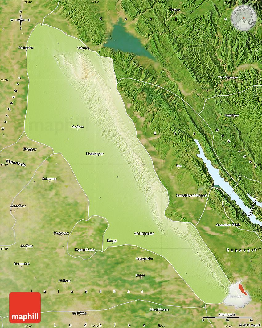 Hoshiarpur India  city images : Physical Map of Hoshiarpur, satellite outside