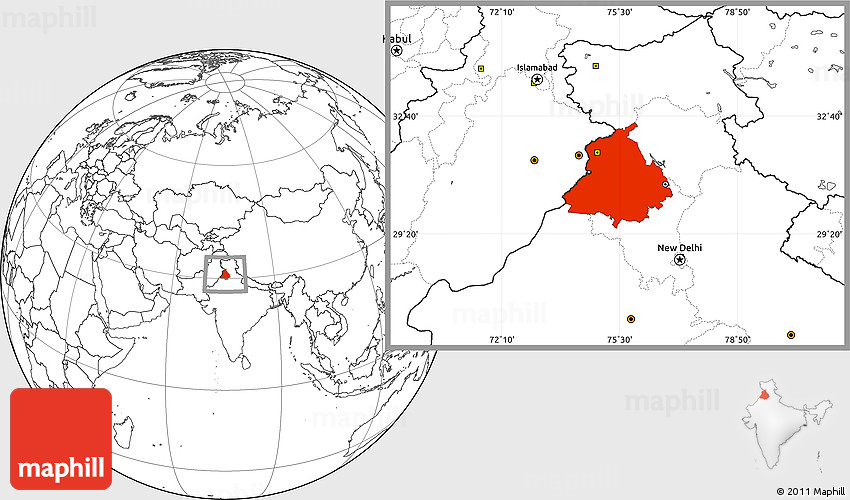 Blank Location Map of Punjab