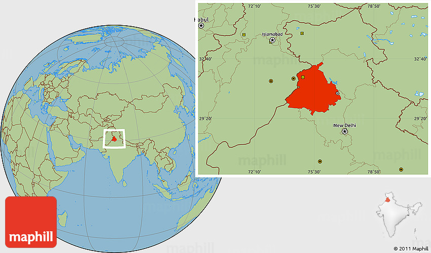 Punjab World Map.Savanna Style Location Map Of Punjab