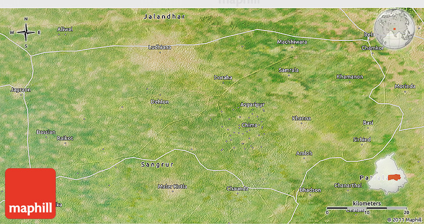 Satellite 3D Map of Ludhiana