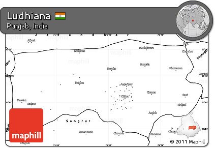 Free Blank Simple Map of Ludhiana