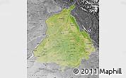 Satellite Map of Punjab, desaturated