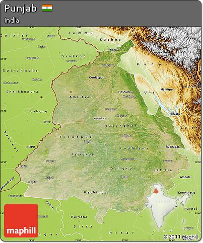 Free Satellite Map of Punjab, physical outside