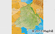Satellite Map of Punjab, political shades outside