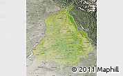 Satellite Map of Punjab, semi-desaturated