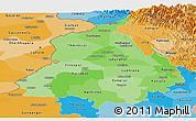 Political Shades Panoramic Map of Punjab