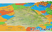Satellite Panoramic Map of Punjab, political outside