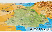 Satellite Panoramic Map of Punjab, political shades outside