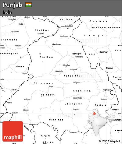 Free Blank Simple Map of Punjab