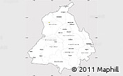 Silver Style Simple Map of Punjab, cropped outside
