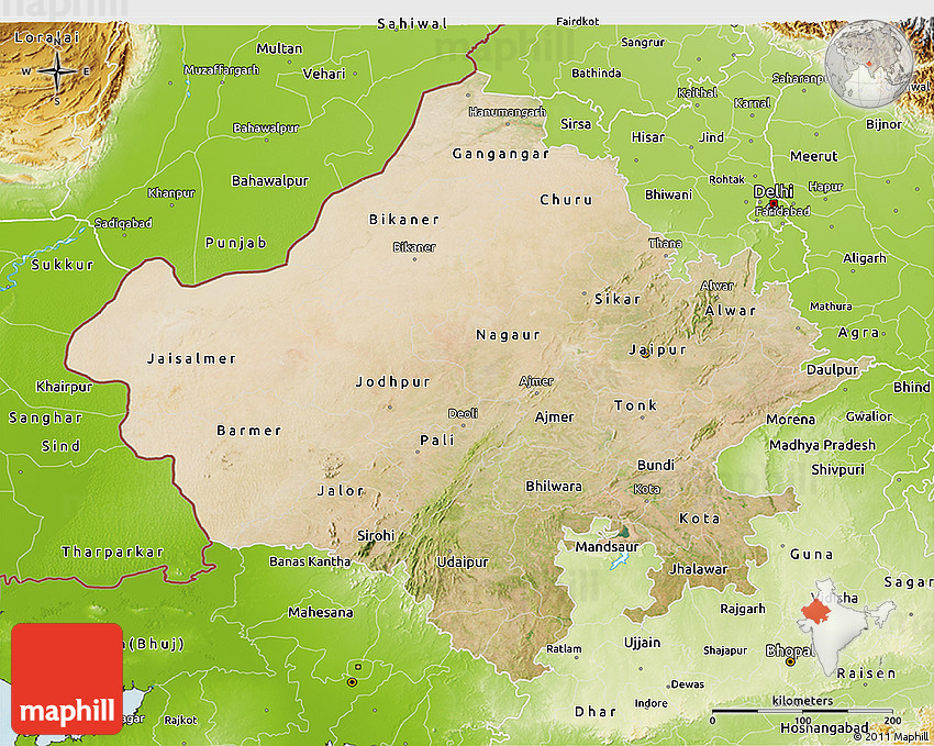 Satellite 3d map of rajasthan physical outside 2d altavistaventures Gallery