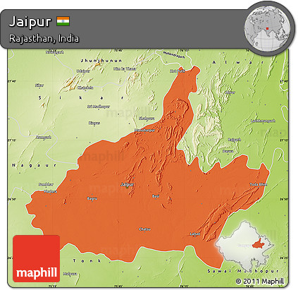 Free Political Map of Jaipur physical outside