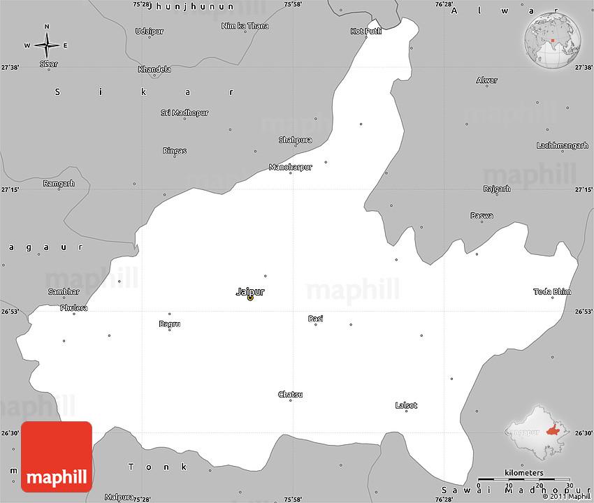 Gray Simple Map of Jaipur