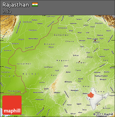 Free physical map of rajasthan physical map of rajasthan altavistaventures Gallery