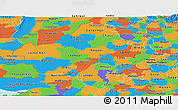 Political Panoramic Map of Rajasthan