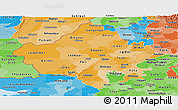 Political Shades Panoramic Map of Rajasthan