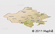 Satellite Panoramic Map of Rajasthan, cropped outside