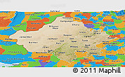 Satellite Panoramic Map of Rajasthan, political outside