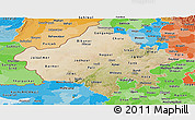 Satellite Panoramic Map of Rajasthan, political shades outside
