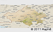 Satellite Panoramic Map of Rajasthan, shaded relief outside