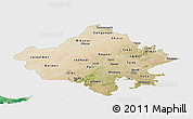 Satellite Panoramic Map of Rajasthan, single color outside